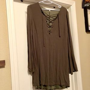 Olive long sleeve dress with tie up front