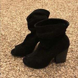 Chinese laundry slouchy peep toe booties