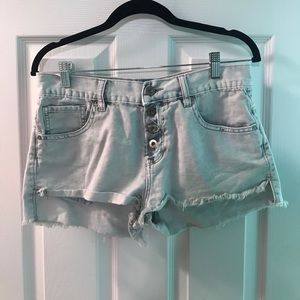 A pair of gray denim shorts from Bullhead.