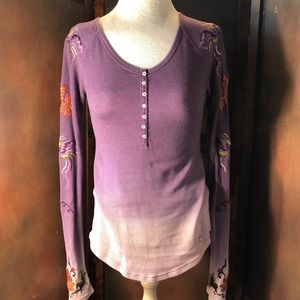 Lucky Brand Embroidered Thermal Ombré Prairie Shrt