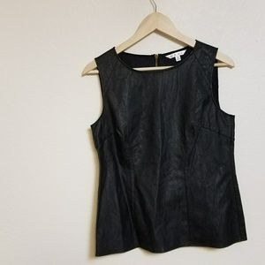 Cabi Black Faux Leather Fleather Shell Top