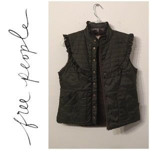Army Green Free People Retro Ruffle Puffer Vest