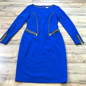 Cache Blue Dress Faux Leather Zipper 10 Holiday