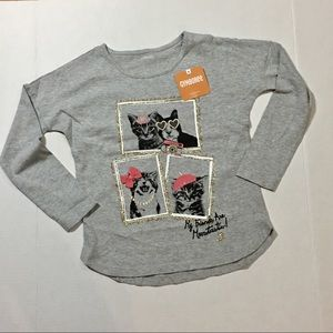 girls gray embellished long sleeve pullover