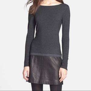 Theory Kieran Black and Gray Dress Leather Skirt L