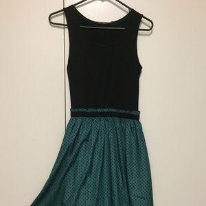 Modcloth Doe & Rae Dress - Green & Black Polka Dot