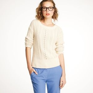 J Crew Cream 100% Cotton Cable Zip-Cable Sweater