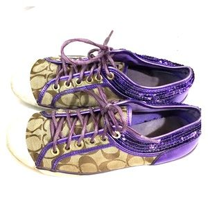 ✨Coach zorra purple brown jacquard shoes sz 7 med