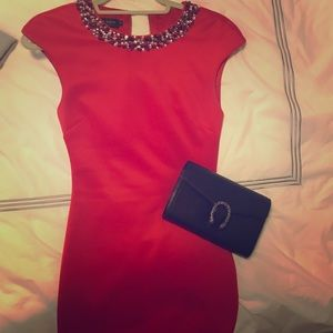 Ted baker fitted red dress with embellishment