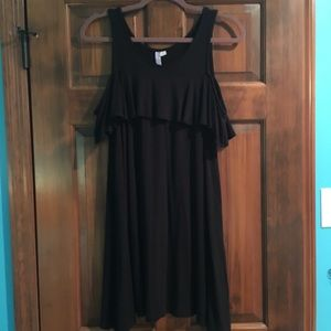Black tshirt dress with off the shoulder ruffle