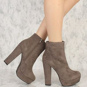 Grey Round Toe Chunky Heel Platform Booties