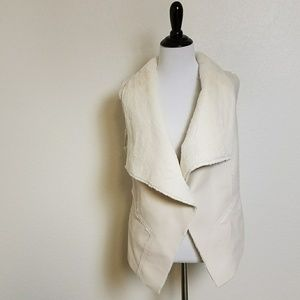 BlankNYC Faux Leather & Shearling White Vest