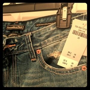 High rise, distressed, Abercrombie and Fitch jeans