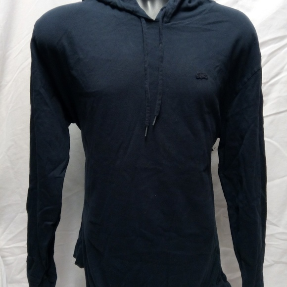a7ae03e3a8c Lacoste Sweaters | Mens Lightweight Hoodie Size 6 Black | Poshmark