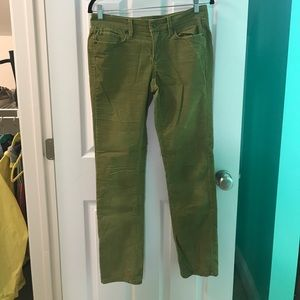 A pair of green, corduroy jeans from Ann Taylor.