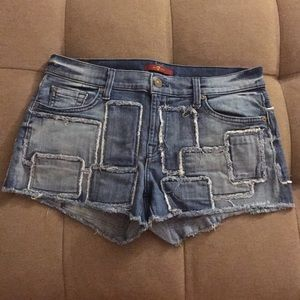 7 for all mankind patchwork jean shorts