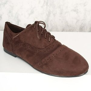 Shoes - Brown Suede Lace Up Oxford Flats