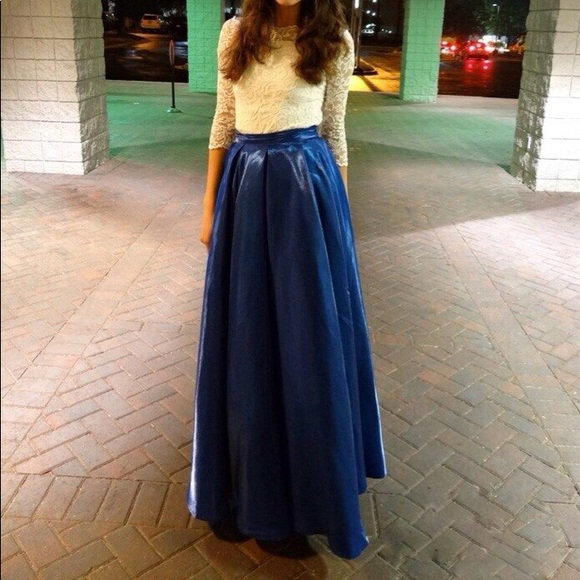 real deal diversified latest designs hot products Blue shiny long skirt