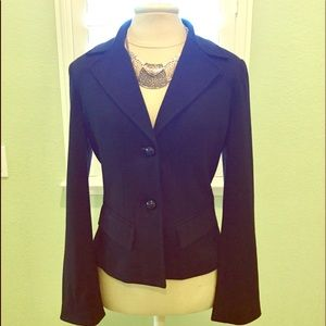 Black Blazer with Buttoned Cuff Detail
