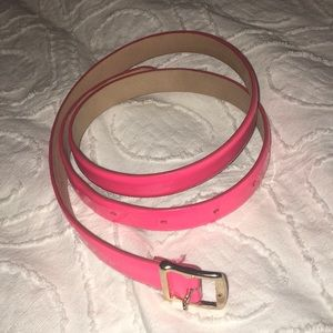 J. Crew: Pink Patent Skinny Leather Belt XS