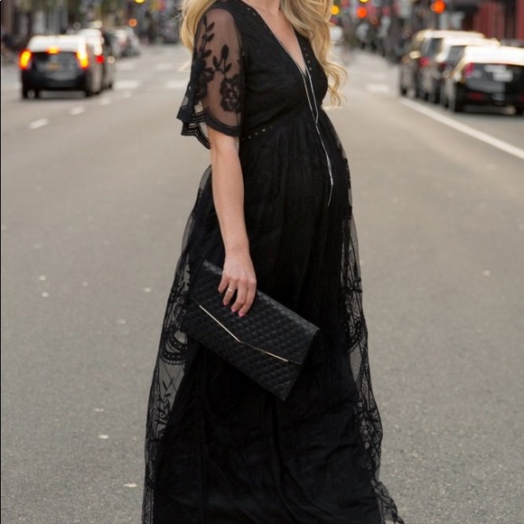 Pinkblush Dresses Maternity Black Lace Overlay Maxi Dress Poshmark