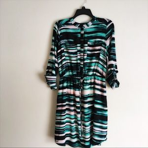 Apt 9 teal watercolor button up dress