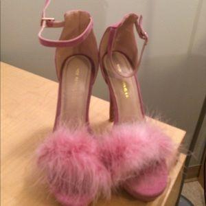 Pink fuzzy stilettos