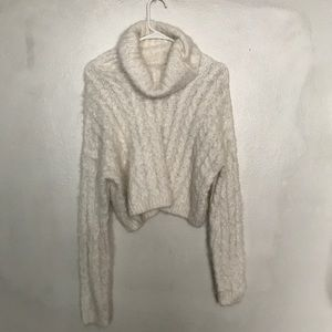 cable knit fluffy turtleneck