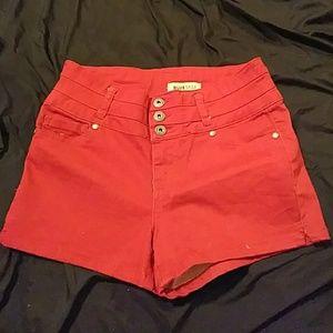 Red High waist shorts