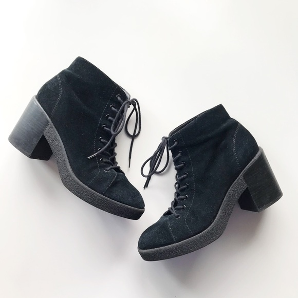 575ef912e97 Topshop Black Suede Lace Up Moto Ankle Boots