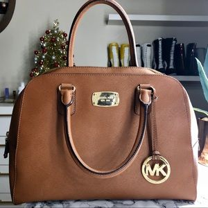 MICHAEL Michael Kors Brown Leather Satchel Bag