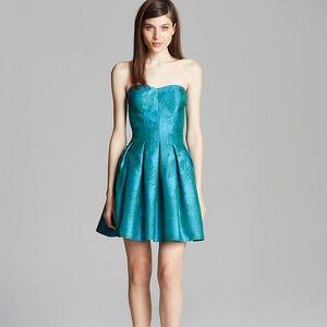 AQUA Green Metallic Strapless Jacquard Dress 12