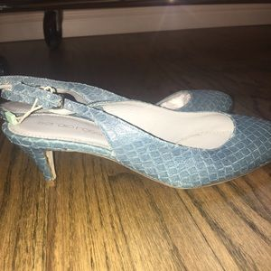 Sergio Rossi blue sling back shoes