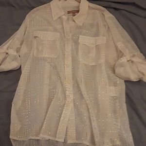 Sheer white with gold blouse