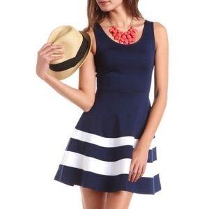 AQUA striped fit and flare dress 💠🌀