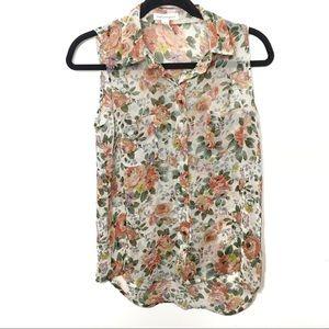 Sheer Floral Pocket Button Up Collar Tank Blouse