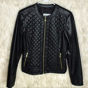 COLE HAAN Quilted Leather Blazer Jacket EUC