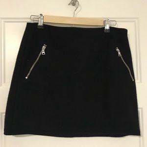 Navy Wool Miniskirt with Zipper Detail