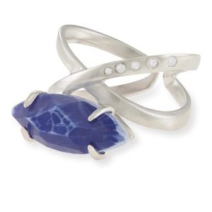 Kendra Scott silver ring with blue stone