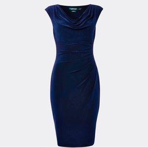 SALE! Ralph Lauren Sleeveless Cowl Neck Navy Dress