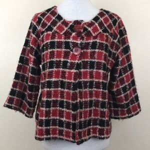 Christopher & Banks Plaid Fuzzy Knit Sweater