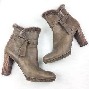 Aquatalia Taupe Fur Lined Heel Booties