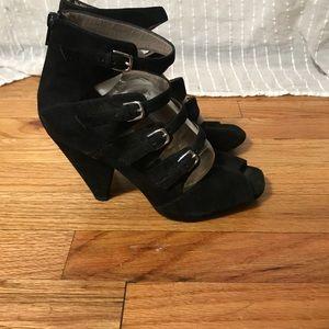 Black Suede Buckles Heels Franco Sarto