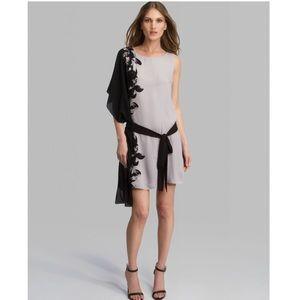 Halston Asymmetric Drape Sleeve Floral Dress