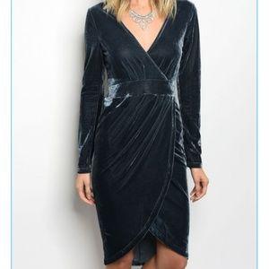 NEW blue velvet hi lo faux wrap dress