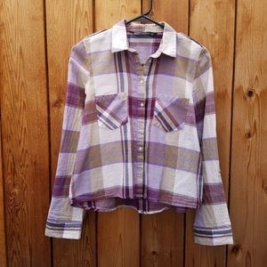Zara purple and gray plaid cropped button down