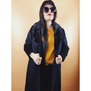 Vtg 90s Black Vegan Fur Long Coat M