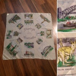 New Listing!Vintage Greetings From Australia Scarf