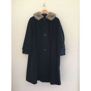 Navy wool coat with real fur collar
