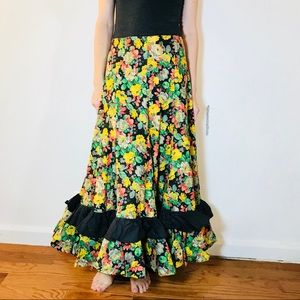 VINTAGE 1960s FLORAL MAXI SKIRT HANDMADE XS S